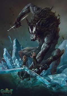 Ulfhedinn - Gwent Card by Anna Podedworna The Art of the Witcher: Dark Fantasy Art, Fantasy Artwork, Dark Art, Witcher Art, The Witcher, Werewolf Art, Fantasy Beasts, Vampires And Werewolves, Epic Art