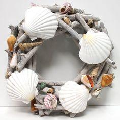 Driftwood Shell Wreath - Seashell Decor (http://www.caseashells.com/driftwood-shell-wreath/)