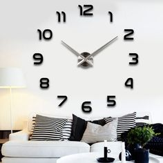 2016 Nova 40 polegada tamanho grande home decor parede de quartzo diy oversize relógio de sala de estar de metal espelho Acrílico relógios de parede frete grátis