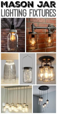 Kitchen Lighting Ideas Great mason jar lighting fixtures for your rustic home! - Add one of these mason jar lighting fixtures to your home for a touch of farmhouse style. We have options for you to purchase or make your own! Rustic Bathroom Lighting, Rustic Light Fixtures, Kitchen Lighting Fixtures, Farmhouse Lighting, Rustic Lighting, Lighting Ideas, Bedroom Lighting, Modern Lighting, Cottage Lighting