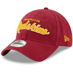 Men s Washington Redskins New Era Burgundy Retro Script 9TWENTY Adjustable  Hat dda1364f3