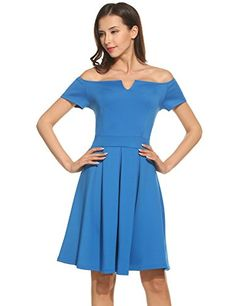 ANGVNS Women Elegant Off Shoulder Cotton Swing Evening Dress Blue XXL ** Be sure to check out this awesome product. (Note:Amazon affiliate link)