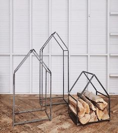A practical piece for the hearth or porch, this house-shaped log holder is hand-forged from durable iron. - cast iron - Indoor or outdoor use - Paint it for outdoor use - Handmade in Eastern Township Canada Small : x x Medium : x x Large : x x Cast Iron, It Cast, Log Holder, Hearth, Firewood, Indoor, House, Choices, Porch