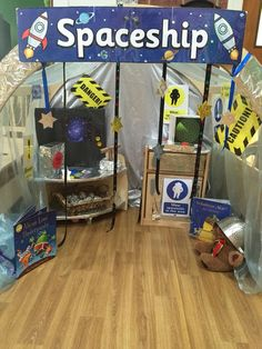 Our new Space rocket, role play area in Mini-Preschool. Moon Activities, Eyfs Activities, Space Activities, Role Play Areas Eyfs, Space Theme Preschool, Space Classroom, Early Years Classroom, Outer Space Theme, Dramatic Play Area