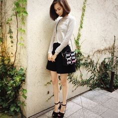 simple + clean white top with skirt