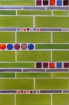 "Mercury Mosaics | 2""x6"" & 1""x6"" Subway Tile - 226 Olive Green / Stix - 1024 Antique Pewter / 1""x1"" Small Squares and Bubbles - 615 Purple Plum, 632 Fire, 23 Sapphire Blue, 132 Jewel Brown"