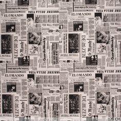 Newspaper ottoman fabric.