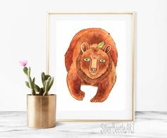 Woodland Print Nursery Animal Print Nursery Art Bear Print Nursery Woodland Art Printable Animal Wall  My prints are a high quality image on a thick, beautiful, textured paper (the base weight of the paper is 250 - 300g). The drawings are bright.  All prints in the shop printed by the originals of my works.  I care about your orders therefore all prints are packed in the thick corrugated cardboard and sealed in a postal plastic bag to the transporting. Such packaging allows the drawings to…
