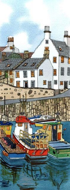 Crail, Fife, Scotland= drawing web little town Illustrations, Illustration Art, Costa, Naive Art, Landscape Art, Art Lessons, Watercolor Art, Folk Art, Art Projects