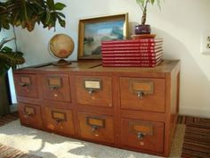 Vintage Wooden Library Card Catalog Metal Drawers in Reston, VA, USA ~ Krrb