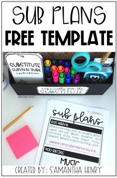 Grab this FREE sub plans template from Samantha Henry and make planning for a sub the easiest thing EVER! Grab this FREE sub plans template from Samantha Henry and make planning for a sub the easiest thing EVER! Sub Plans Template, Lesson Plan Templates, Art Lesson Plans, Substitute Teacher Binder, Sub Binder Free, 3rd Grade Classroom, Classroom Ideas, Classroom Organization, Emergency Sub Plans