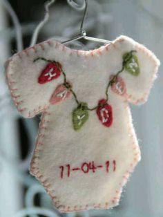 Felt Baby onesie - christmas ornames