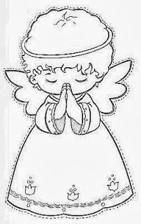 desenho de anjinho de natal para pintar