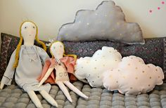 cloud cushions and rag dolls by minina loves Cloud Cushion, Kids Toys, Rag Dolls, Cake, Desserts, Cushions, Interior, Food, Scrappy Quilts