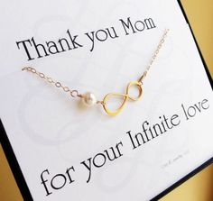 Two mother of the bride gifts, mother of groom gifts, gold infinity bracelets with message cards, wedding gifts for mother in law. $64.00, via Etsy.