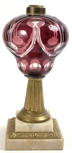 Amethyst cut-to clear oil lamp by Boston and Sandwich Glass Company. Mid 19th century.