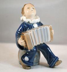 Royal Copenhagen Figurine of a Boy in Clown Costume Playing Accordion 3667 #RoyalCopenhagen