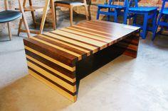 Furniture design. Metódica coffee table made with hardwood. Mesa de centro Metódica em madeira maciça. Produzida com imbuia, carvalho vermelho e amarelinho.