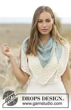 Симпатичная треугольная шаль, связанная на спицах из тонкой шерстяной пряжи белого цвета и пряжи секционного окрашивания. Сначала вязание выполняется...