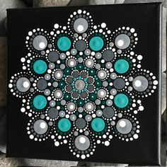 "6"" x 6"" Hand-Painted Mandala on Canvas - dot painting"