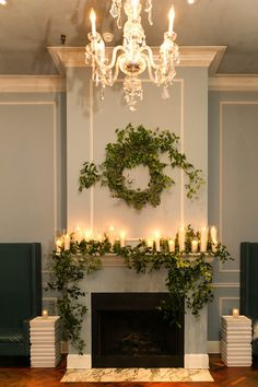 Flowers by Fleur Inc, Photo by Emilia Jane Photography, Planning by Estera Events Wedding Fireplace Decorations, Wedding Mantle, Ceremony Decorations, Rustic Wedding, Christmas Decorations, Decorate Fireplace Mantles, Fireplace Garland, Fireplace Mantel, Altar