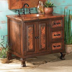 Lodge Decor-Rustic Cabin Decor-Southwestern Home Decor-Log Cabin Decor-Antler Lighting - Copper Mountain Vanity Sink Cabinet