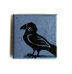 Raven Painting Miniature Original Tiny Canvas Wall Art by kmwatkins on Etsy Karen Watkins use coupon code PIN10 to save 10%