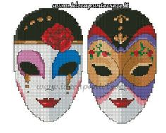 MASCHERE CARNEVALE PUNTO CROCE Cross Stitch Embroidery, Embroidery Patterns, Cross Stitch Patterns, Jester Mask, Tapestry Crochet Patterns, Cross Stitch Heart, African Masks, Plastic Canvas Patterns, Stitch Design