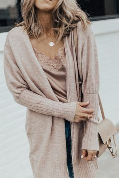 Fall Outfit: Cozy Cardi, Sweet & Spark Pink Silk Lace Cami and Distressed Denim | Cella Jane
