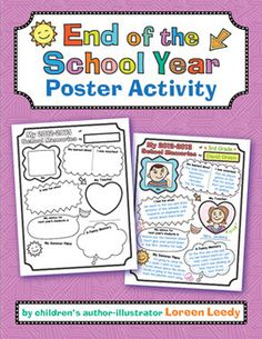 Here is a printable end-of-the-year poster for your kiddos to draw and write a quick summary of the 2012-2013 school year. An example poster is included plus bulletin board titles in color and b + w. For all elementary grades.