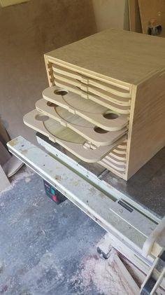 Saw Blade Storage Box Saw Blade Storage Garage Storage Woodworking Workshop, Woodworking Shop, Woodworking Plans, Woodworking Projects, Woodworking Jigsaw, Woodworking Basics, Woodworking Chisels, Woodworking Patterns, Woodworking Techniques