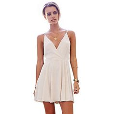 WithChic White Deep V-Neck Sleeveless Skater Dress (46 AUD) ❤ liked on Polyvore featuring dresses, v neck skater dress, low v neck dress, short white dresses, short dresses and a line dress