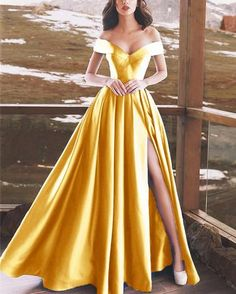Sexy V-neck Off Shoulder Satin Long Prom Dresses 2019 - Style Evening Dresses Gold Prom Dresses, Prom Dresses For Teens, Homecoming Dresses, Strapless Dress Formal, Evening Dresses, Elegant Dresses, Pretty Dresses, Beautiful Dresses, Formal Dresses