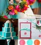 kelly green, aqua, orange and pink wedding - Bing Images