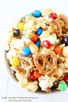 Sweet and Salty Marshmallow Popcorn Recipe on twopeasandtheirpod.com Perfect for movie night, game day, or any day! #recipe