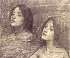 Two Nymphs - study for Hylas and the Nymphs (circa 1896)-John William Waterhouse