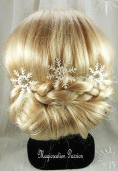 pics à chignon flocons de neige  blancs et argentés grosse perle, lot de 3,  bijou cheveux romantique hiver, made in France