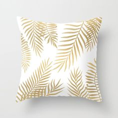 Gold Palm Leaves Throw Pillow by Marta Olga Klara - Cover x with pillow insert - Indoor Pillow Sofa Throw, Throw Pillow Cases, Cushions On Sofa, Throw Pillows, Accent Pillows, Sofa Cushion Covers, Pillow Covers, Home Decor Bedding, Pillows