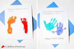 Handprint and Footprint Father's Day Card: Thanks for Holding My Hand -