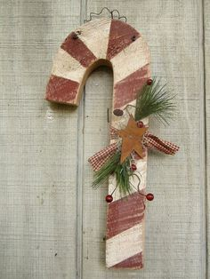 Country Primitive Wall Hanging Wood Candy Cane by LnMPrimitives, $15.00