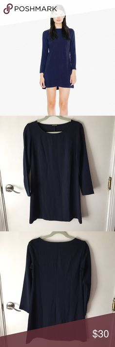 """NWOT American Apparel navy Gia crepe mini dress -I do NOT trade or model. Please do not ask. -No longer sold. -Size Medium. -Navy long sleeve crepe dress. Formal and lightweight. Great to dress up or down. -No flaws, never worn. -95% polyester, 5% elastane.  •shoulder to shoulder: 14.5"""" •pit to pit: 18.5"""" •length (shoulder to hem): 32"""" •sleeves: 22"""" American Apparel Dresses Mini"""