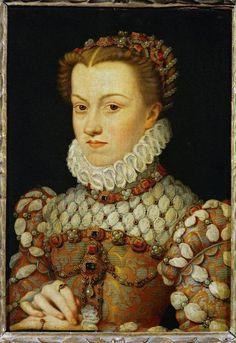 Francois Clouet (1510-1571) Elizabeth Habsburg, Koningin van Frankrijk (ca. 1571) Olieverf op hout 36 x 26 cm - Het Louvre