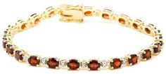 "18k Yellow Gold Plated Sterling Silver Garnet and Diamond Accent Bracelet, 7.25"" for $68.00"