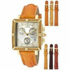 Invicta Women's 10334 Wildflower Orange Crystal Accented Chronograph Silver Dial Rosetone Case Orange Leather Watch Invicta. $99.00. Chronograph functions with 60 second, 30 minute and day of the week silver tone subdials; date window at 4:00. Swiss quartz movement. Silver dial with rose gold tone hands and hour markers; luminous; 48 orange crystals set on 18k rose gold ion-plated bezel; 18k rose gold ion-plated pushers and crown with orange cabochon crystal; 6 additional inte...