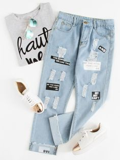 Stagioni Fashion for Women, Jeans for Women. Item: Letter Print Ripped Jeans for Women Outfit Jeans, Lässigen Jeans, Shoes With Jeans, Casual Jeans, Mom Jeans, Cuffed Jeans, Jeans Dress, Denim Skirt, Crop Top Outfits