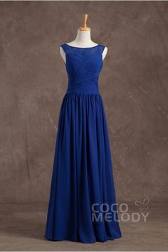 Classic Bateau Floor Length Chiffon Royal Blue Sleeveless Wedding Guest Dress with Ruched RP3200