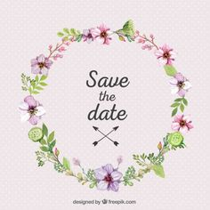 Pretty flowers and leaves wedding ornament Free Vector
