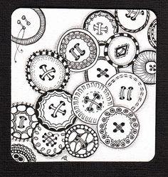 button zentangle by Shelly Beauch   (Michele Beauchamp CZT)  teaching Zentangle in Tasmania Australia #Hobbies Leisure