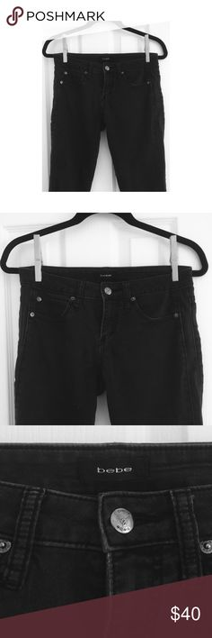 Bebe Black Skinnies. Leather Details Black Bebe ankle skinnies. Awesome leather piping down the outside of both legs. Perfect black worn wash. bebe Jeans Ankle & Cropped