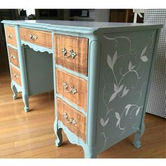 French Provincial desk makeover in duck egg blue with hand painted leaves and vines - by Wild Sparrow Des French Provincial desk makeover in duck egg blue with hand painted leaves and vines - by Wild Sparrow Designs Hand Painted Furniture, Paint Furniture, Repurposed Furniture, Furniture Projects, Cool Furniture, Furniture Design, Painted Desks, Bedroom Furniture, Furniture Removal